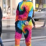 Jennifer Lopez in rainbow hoodie and sweatpants